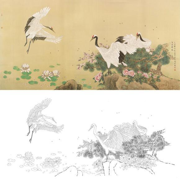 白描底稿-工笔花鸟-松鹤-a176