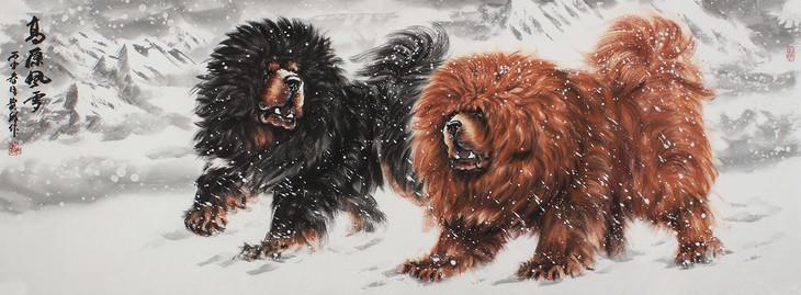 【包邮】画獒名家王贵邱小六尺写意动物画《高原风雪