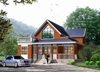 1*12.8一层半乡村别墅设计图