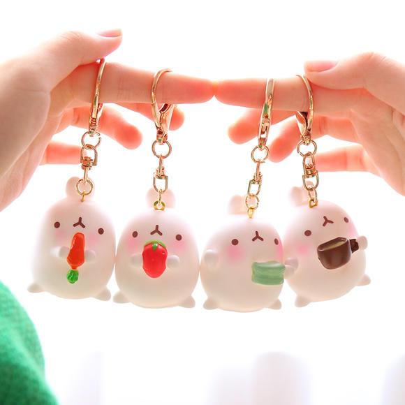 韩国超萌可爱卡通土豆兔宝宝装饰胖兔子钥匙扣包包挂件挂饰钥匙链