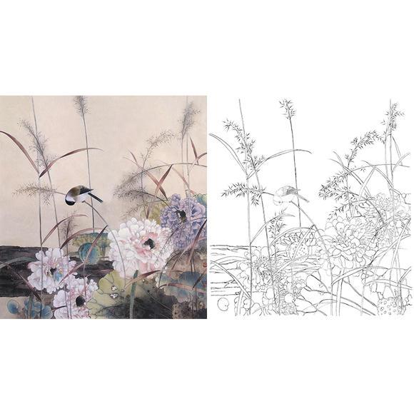 白描底稿-贾广健工笔花鸟-荷花-a285图片