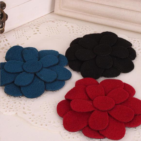 咔米嗒毛呢花朵女童实用刘海贴碎发贴儿童宝宝发饰品
