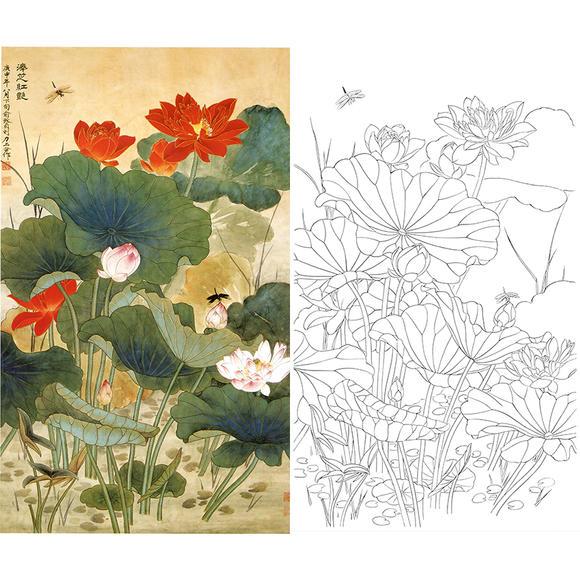 白描底稿-俞致贞工笔花鸟-荷花-a520图片