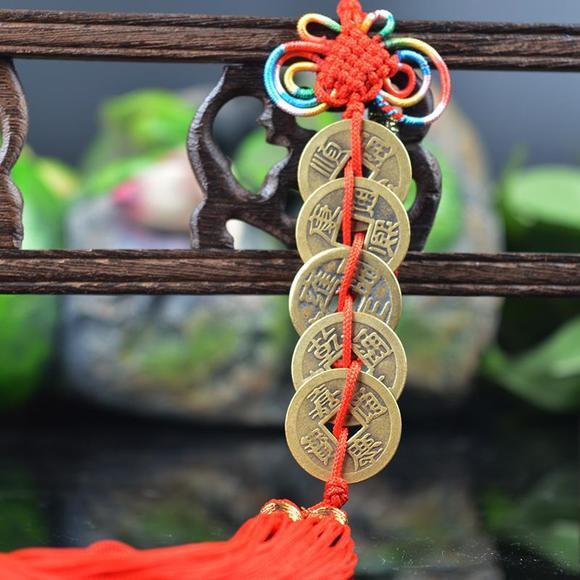 日月堂包邮开光中国结白玉葫芦五帝铜钱 纯铜六帝钱挂件