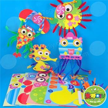 海底动物 儿童手工diy材料包幼儿园3d立体粘贴画贴纸环境创设精品