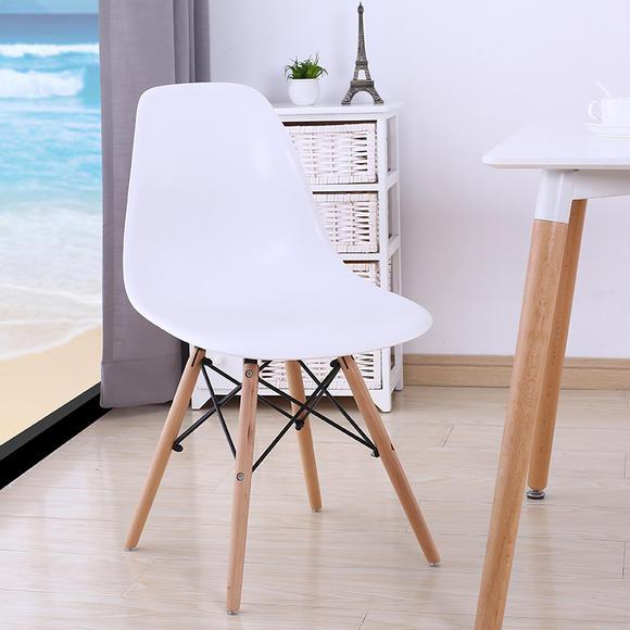 现代创意休闲咖啡塑料家用餐椅 会议办公书桌实木靠背椅子 加强版