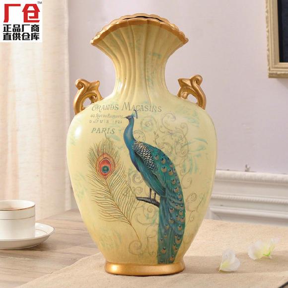 厂仓蓝翎孔雀欧式创意花瓶摆件 复古陶瓷花器客厅家居