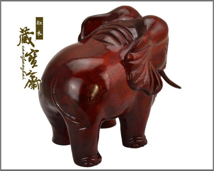 招财象东南亚木雕大象摆件