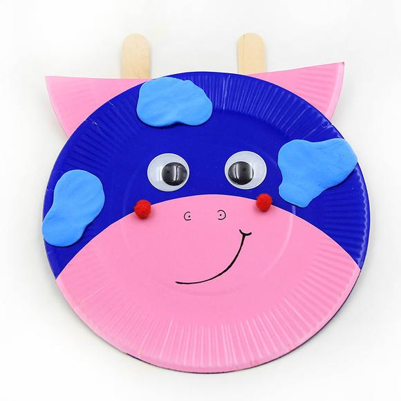 幼儿园手工diy盘子贴画 十二生肖彩色升级纸盘儿童手工制作材料包图片