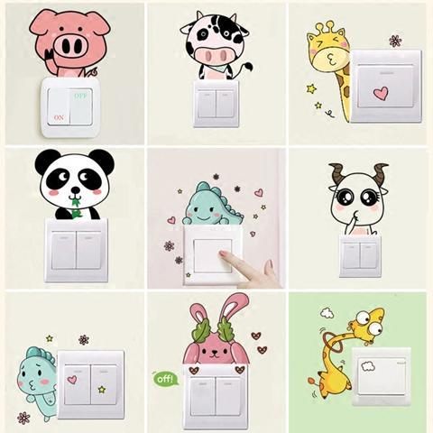 包邮墙贴卡通动物创意开关贴插座贴儿童房间卧室开关贴装饰品贴纸