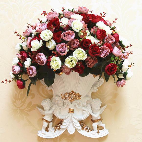 欧式复古壁饰天使壁挂美式墙面上装饰品花瓶花盆花篮客厅墙壁挂件