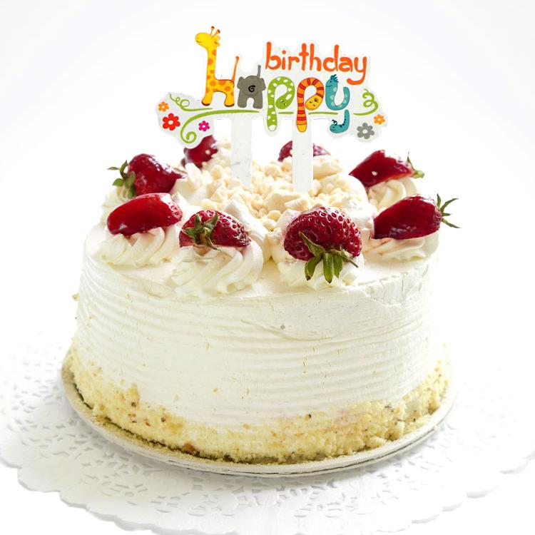 蛋糕装饰插片生日快乐 卡通动物长颈鹿插片50枚/包 一