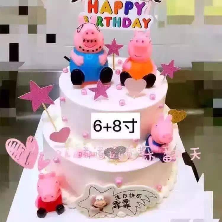 蛋糕装饰摆件粉红猪小妹一家佩奇佩琪小猪佩佩猪乔治猪4只一套 5-8cm图片