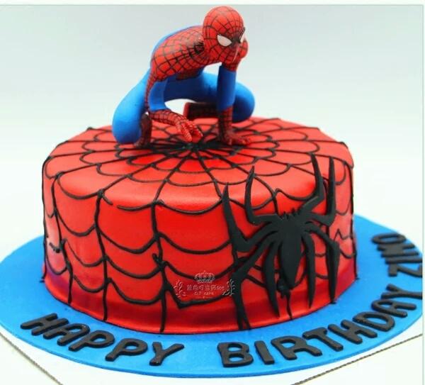 情景蛋糕摆件 蜘蛛侠 卡通人偶摆件 场景生日蛋糕装饰