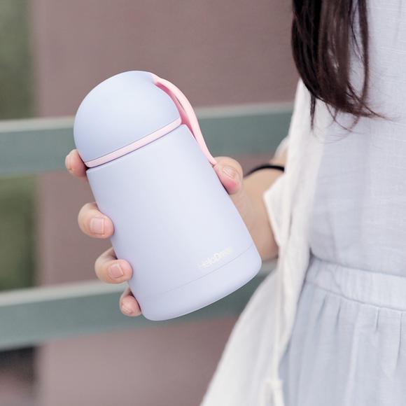 创意可爱兔子耳朵不锈钢保温杯 马卡龙色迷你便携随身杯喝水杯子