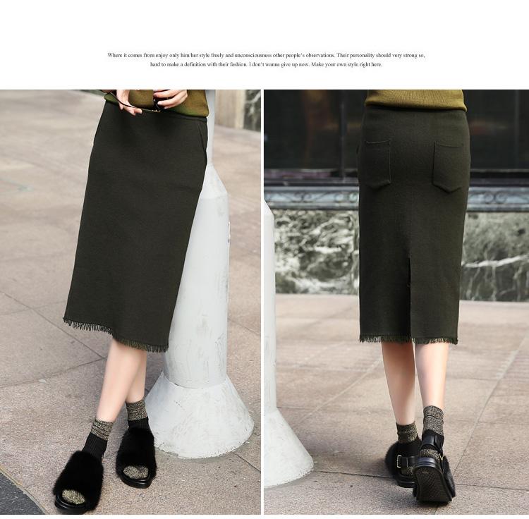【爱妮时尚】秋冬新款针织弹力包臀裙女韩版修身显瘦