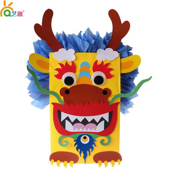 艺趣节日主题手工 玉兔龙纸袋手偶diy制作 幼儿园节日