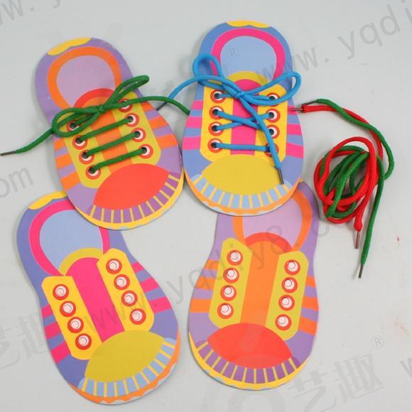 幼儿手工材料手工diy儿童手工制作幼儿手工diy-我会系鞋带单个装