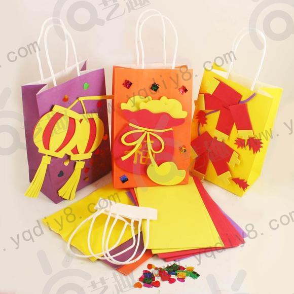 新年幼儿园儿童手工制作益智玩具艺趣diy纸袋材料包