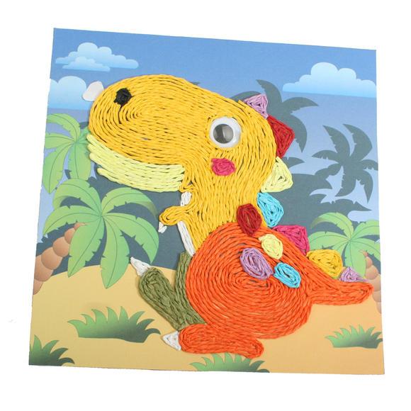 纸绳画幼儿手工益智diy彩色纸绳画环保材料包纸绳粘贴