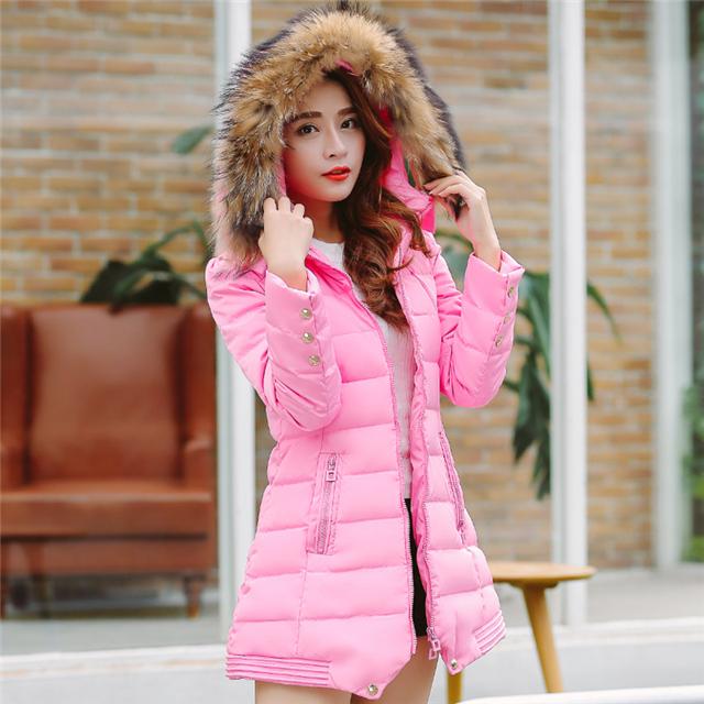 小�:�9�k�f_【小k】f84秋冬装韩版羽绒服中长款棉衣女加厚面包服大毛领大码羽绒