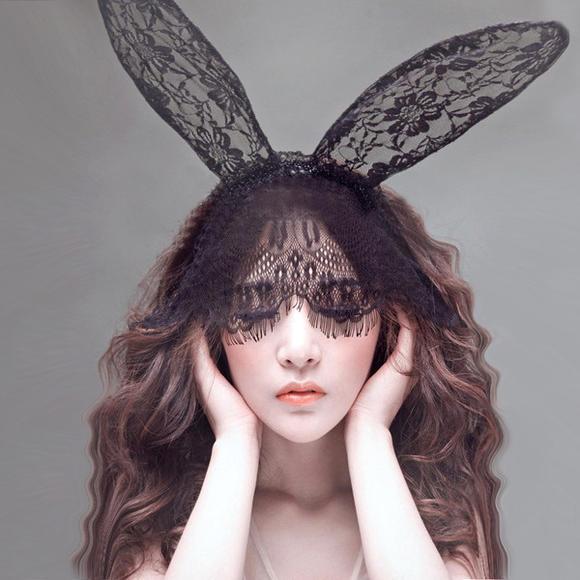 【发箍女】新款可爱兔耳朵眼罩面纱发箍配饰猫女蕾丝