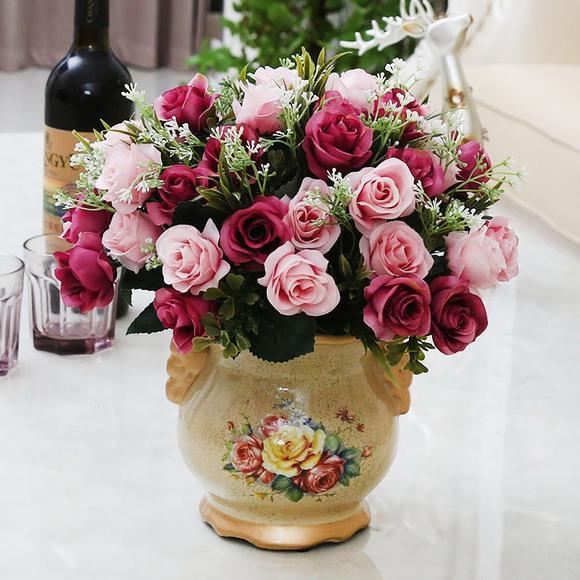 室内摆设欧式仿真花束套装客厅装饰假花家居饰品摆件塑料花卉盆栽