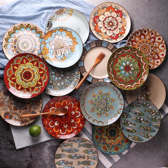 创意个性西式手绘陶瓷盘子8寸餐盘菜盘复古点心盘水果