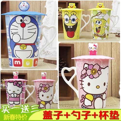 骨瓷kt猫多啦a梦杯 咖啡牛奶杯马克杯可爱卡通陶瓷杯子水杯带盖勺