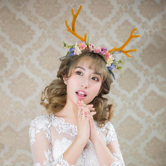 水舞新款 i圣诞系列配饰鹿角少女发箍饰品森系头饰b1321