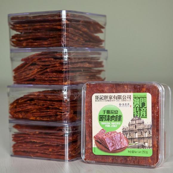 肉脯类制品1905包邮澳门猪肉钜记手信手撕猪肉干特产包邮250gxo酱蜜汁山核桃根图片