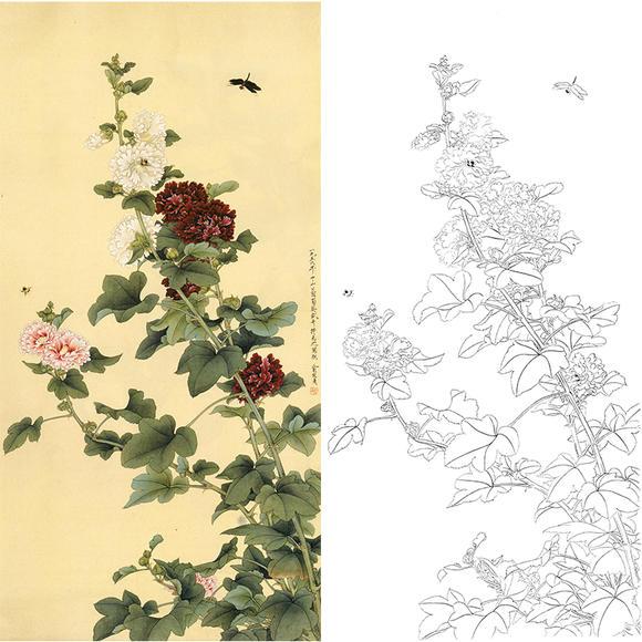 白描底稿-工笔花鸟-俞致贞蜀葵-hv06