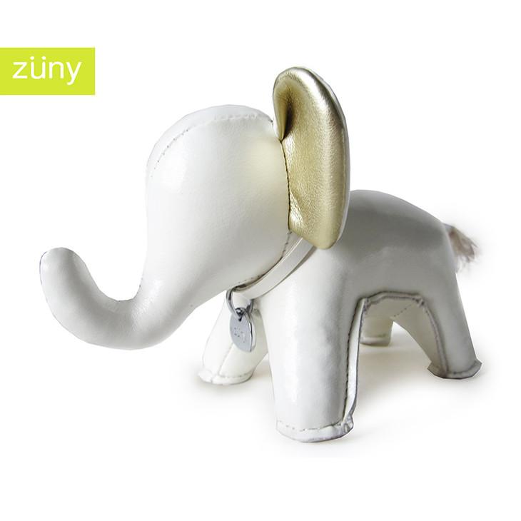 台湾手工 zuny大象 皮质动物玩偶 纸镇 白 金 吊牌