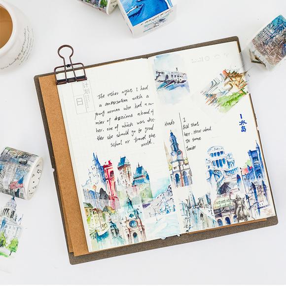 本小姐 全世界路过系列和纸胶带 世界风景手帐胶带 创意装饰胶带