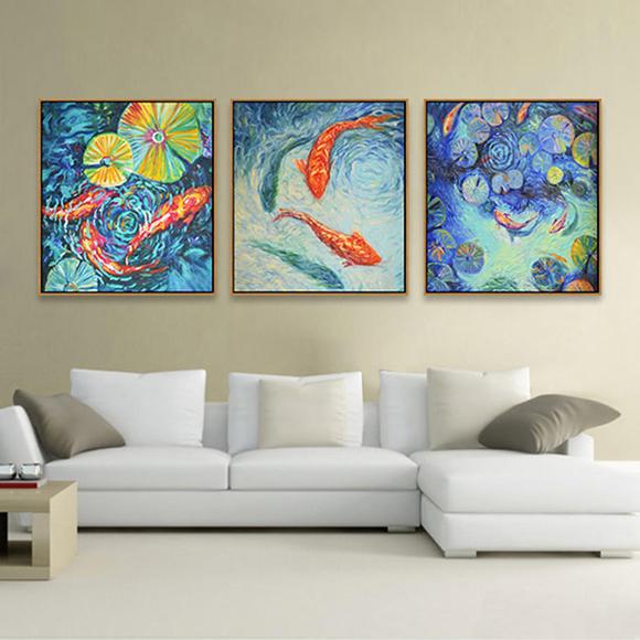 新中国风-创意荷莲鱼-客厅玄关纯手绘装饰画-057