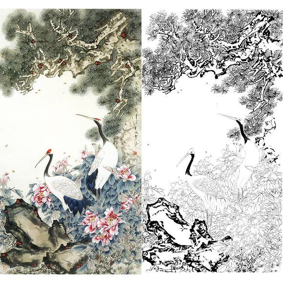 白描底稿-工笔花鸟-松鹤长春-qs05
