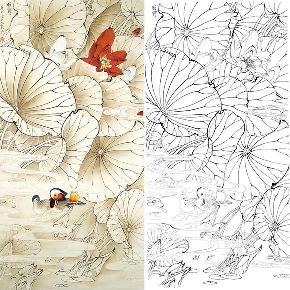 白描底稿-王道中-荷花鸳鸯-雨前-qs02 - 工笔底稿商城图片