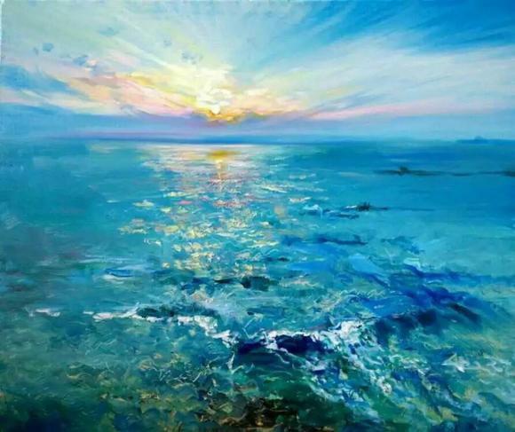大海手绘水彩简单唯美