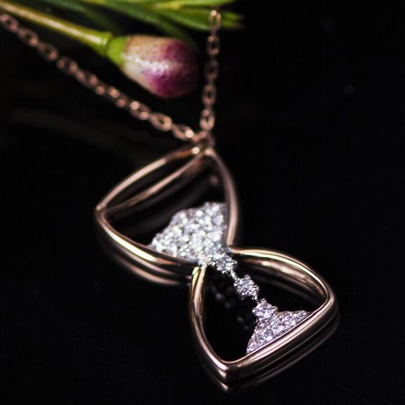 「沙漏」钻石镶嵌玫瑰金项链 - ella bee 珠宝工作室图片