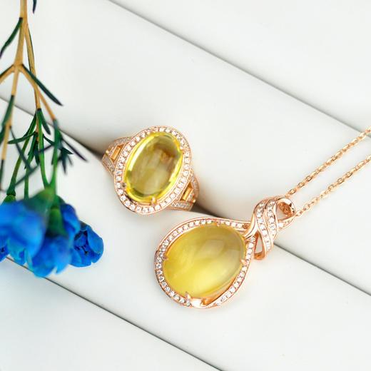 保利艺术 不言珠宝 金芒·琥珀戒指吊坠套装 商品图0
