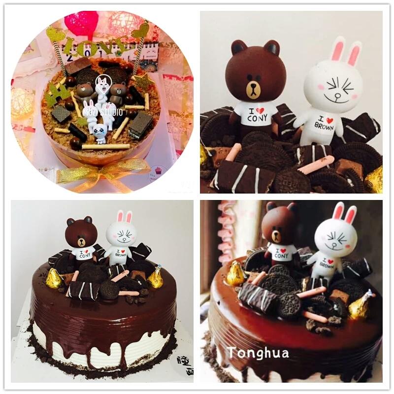 生日蛋糕装饰摆件 熊兔手办公仔摆件布朗熊可妮兔6件套 食品级材料 6
