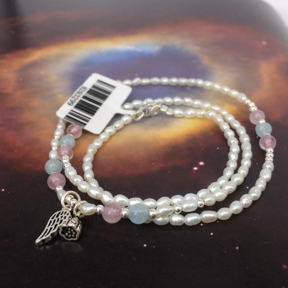 小米珍珠手链三圈白珍珠 海蓝宝粉晶随型配饰 莲蓬