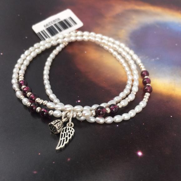 小米珍珠三圈手链 银珠石榴石配珠 莲蓬翅膀吊饰