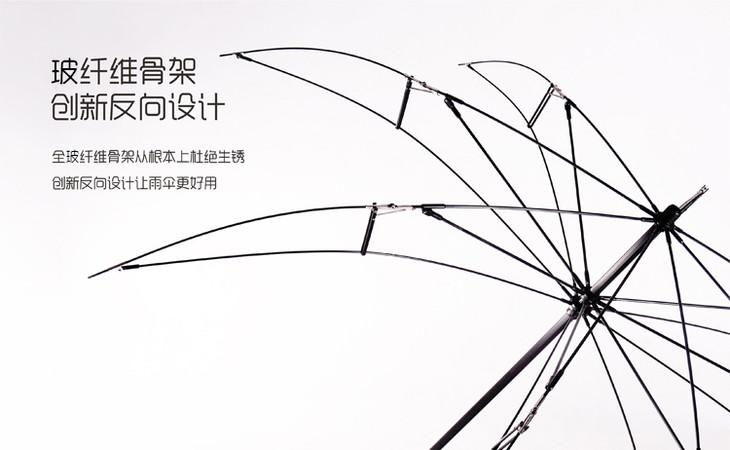 当反向伞被吹翻,您只需要按一下开收伞的按钮,就可以让雨伞复原.图片