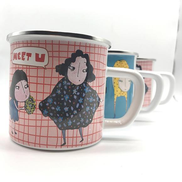 生活方式原创搪瓷杯手绘卡通图形经典怀旧陶瓷水杯咖啡杯漱口杯