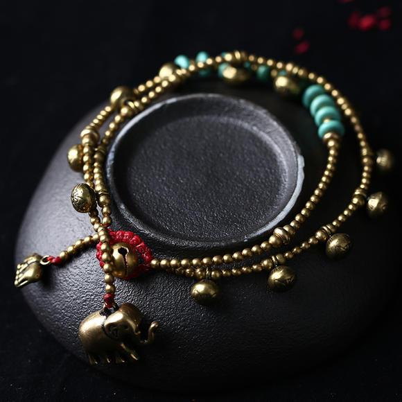 藏式铜蜡绳手工编制玉米结脚链 民族时尚脚环