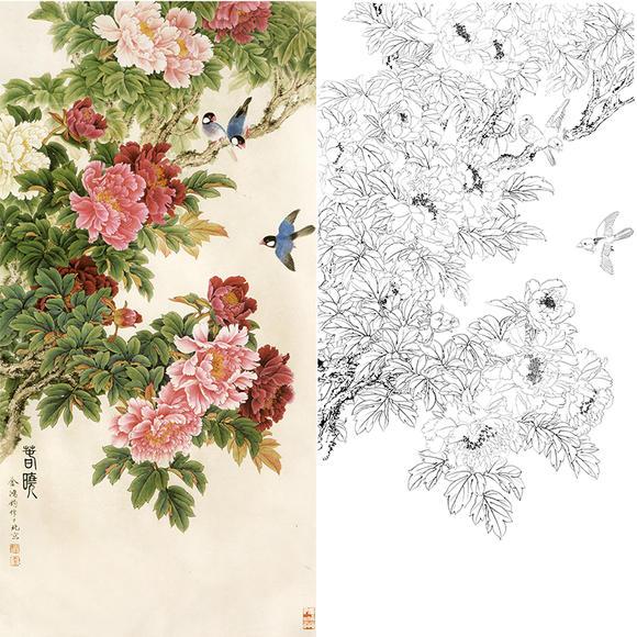 白描底稿-工笔花鸟-春晓-jr01