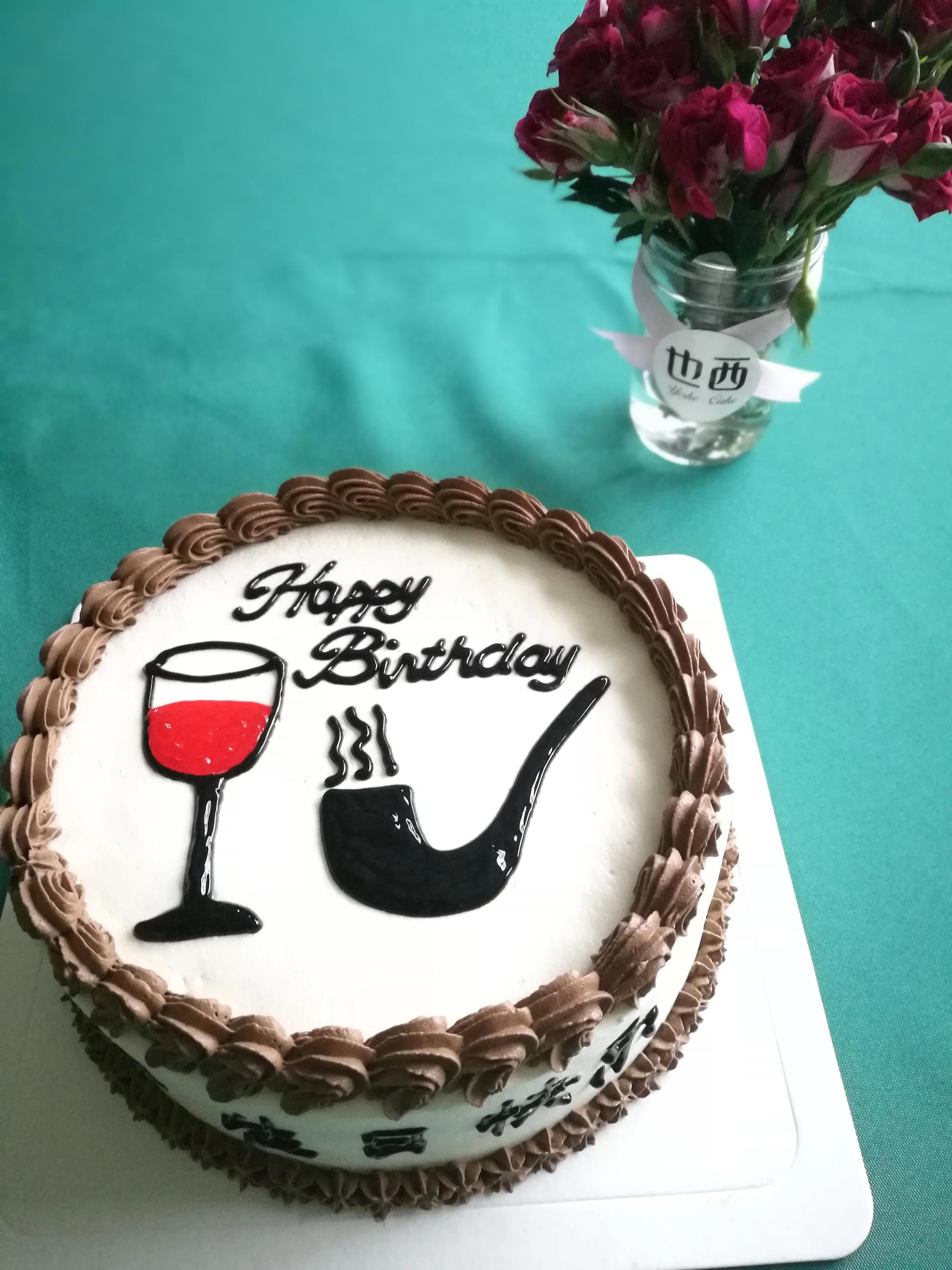 酒图案的蛋糕