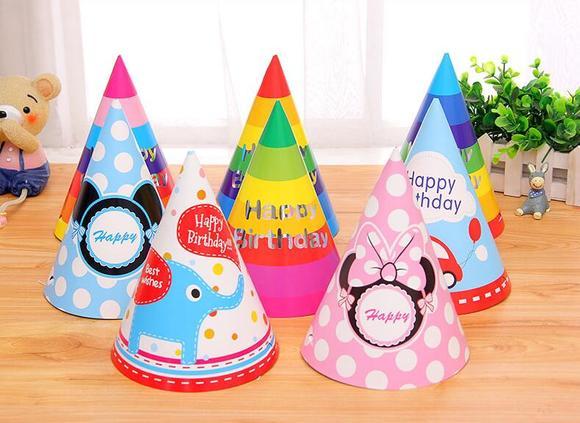 彩色卡通生日帽 寿星公主头饰尖角帽子