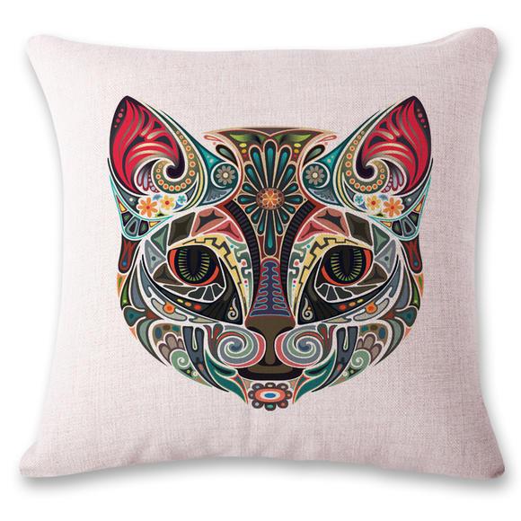 3d可爱动物纹身棉麻抱枕靠枕靠枕床头布艺靠枕办公室椅子欧式现代